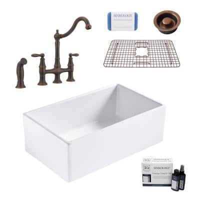 Bradstreet II All-in-One Fireclay 30 in. Single Bowl Farmhouse Kitchen Sink with Pfister Bronze Faucet and Drain