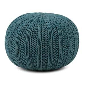 Shelby Transitional Round Hand Knit Pouf in Teal Cotton