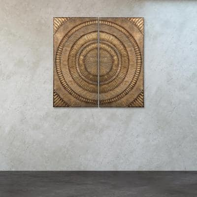 """36 in. x 18 in. Set of 2 - """"Abstract"""" Metal Wall Art"""