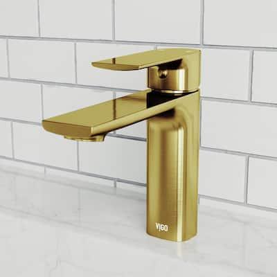 Davidson Single Hole Single-Handle Bathroom Faucet in Matte Gold
