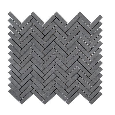 Basalt Herringbone Gray 4.75 in. x 4.38 in. Honed Basalt Floor and Wall Mosaic Tile Sample