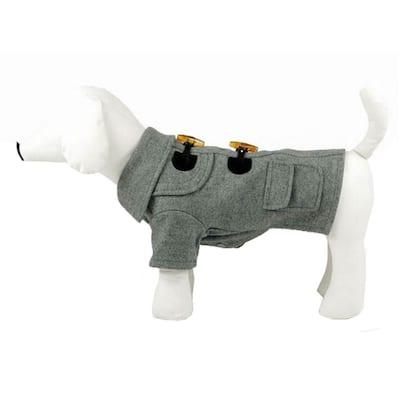 Medium Static Grey Military Rivited Fashion Collared Wool Dog Coat