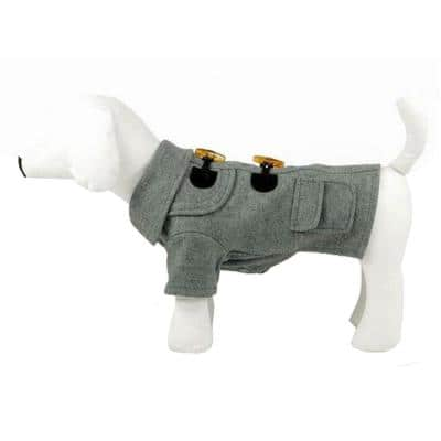 Small Static Grey Military Rivited Fashion Collared Wool Dog Coat