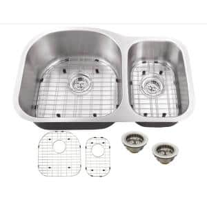 Undermount 16-Gauge Stainless Steel 31-1/2 in. 0-Hole 70/30 Double Bowl Kitchen Sink