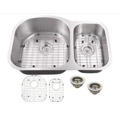 Undermount 16-Gauge Stainless Steel 31-1/2 in. 0-Hole 70/30 Double Bowl Kitchen Sink