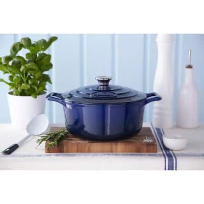 PRO Range 3.7 qt. Round Cast Iron Casserole Dish in Blue with Lid