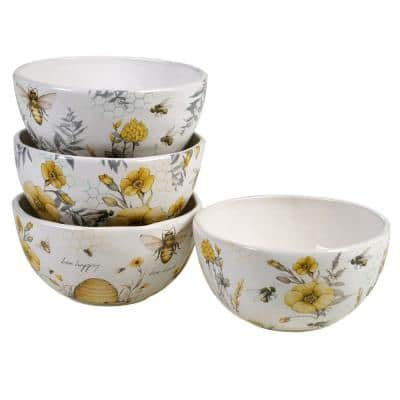 Bee Sweet 4-Piece Seasonal Multicolored Earthenware 26 oz. Ice Cream Bowl Set (Service for 4)