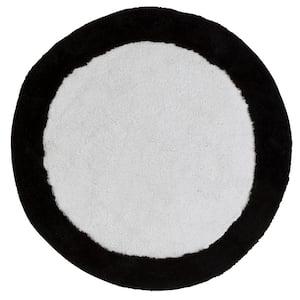 METRO CIRCLES 30'' ROUND WHITE AND BLACK BATH RUG