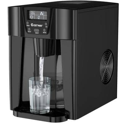 10 in. 36 lbs/24 Hours Portable 2 in. 1 Ice Maker Water Dispenser LCD Display in Black