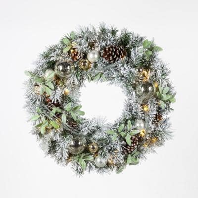 30 in. Snowy Silver Pine Flocked Pre-Lit LED Artificial Christmas Wreath with Ornaments and Mistletoe
