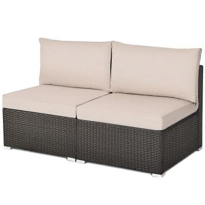 2-Piece Wicker Armless Patio Outdoor Sectional Set with Brown Cushion