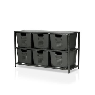 Becca Gun Metal Organizer with 6-Storage Bins