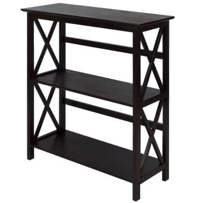 34 in. H Espresso New Wood 2-Shelf Etagere Bookcase with Open Back