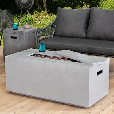 Pablo Modern 42 in. Rectangular Concrete Propane Powered Firepit Table