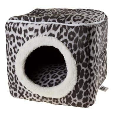 Small Gray/Black Animal Print Cozy Cave Pet Cube