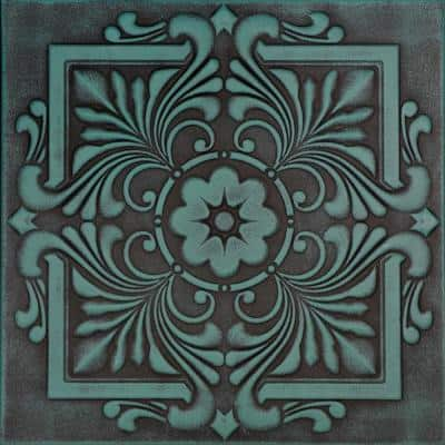 Victorian 1.6 ft. x 1.6 ft. Glue Up Foam Ceiling Tile in Antique Green