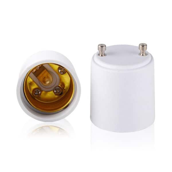 2 Pcs GU24 to E26 E27 Adapter LED Light Bulb Holder Socket Converter PBT C2O3
