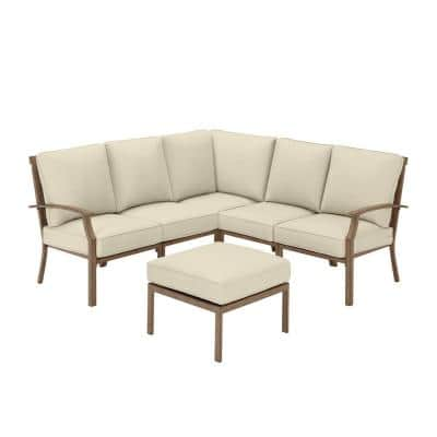 Geneva 6-Piece Brown Wicker Outdoor Patio Sectional Sofa Seating Set with Ottoman and CushionGuard Putty Tan Cushions