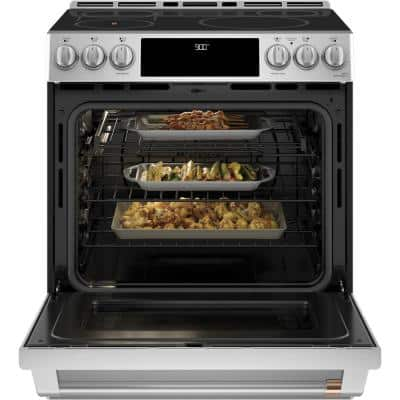 30 in. 5.7 cu. ft. Slide-In Electric Range with Self-Cleaning Convection Oven and in Stainless Steel