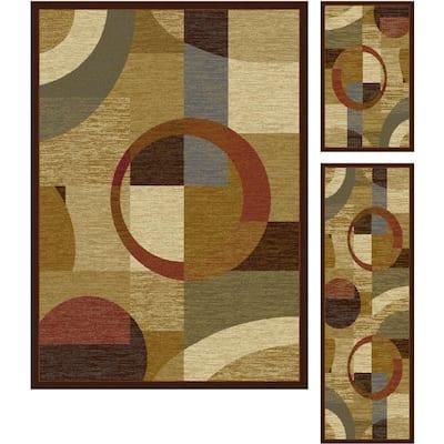 Elegance Multi 5 ft. x 7 ft. 3-Piece Rug Set