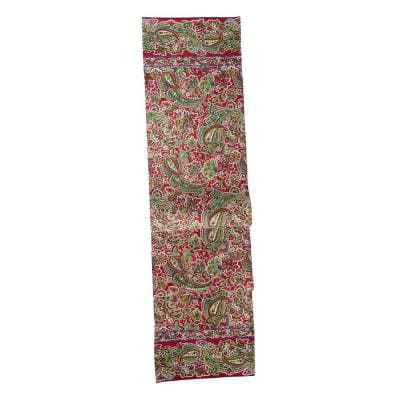 Priscilla's Paisley 13 in. x 72 in. Red Paisley Cotton Table Runner