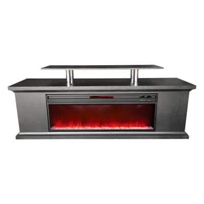 Deluxe 72 in. Freestanding Electric Media Center Fireplace with TV Stand in Black