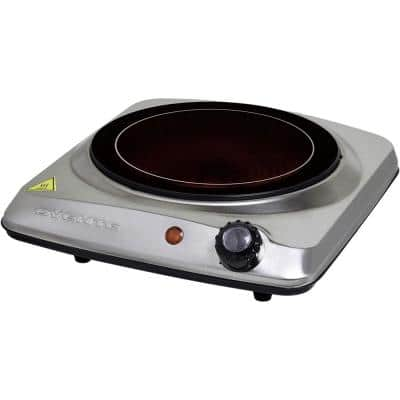 7 in. Silver Single Hot Plate Electric Glass Infrared Stove, 1000-Watt