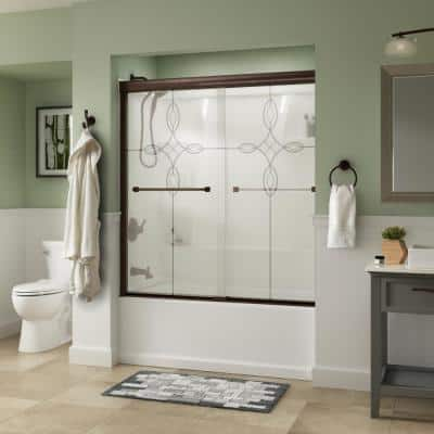 Everly 60 in. x 58-1/8 in. Traditional Semi-Frameless Sliding Bathtub Door in Bronze and 1/4 in. (6mm) Tranquility Glass