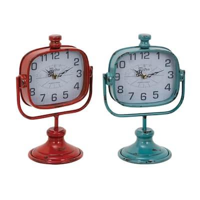 Multi Colored Metal Vintage Analog Tabletop Clock (Set of 2)