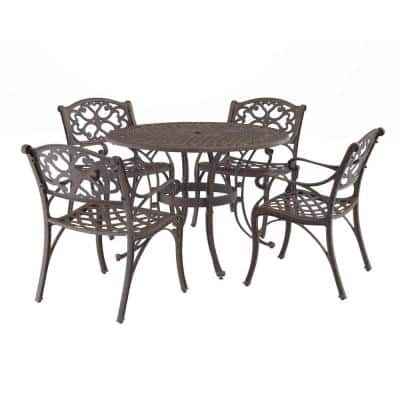 Sanibel 48 in. Rust Bronze 5-Piece Cast Aluminum Round Outdoor Dining Set