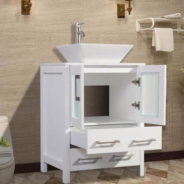 Vanity Art Ravenna 24 In W X 18 5 In D X 36 In H Bathroom Vanity In White With Single Basin Top In White Ceramic And Mirror Va3124w The Home Depot