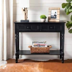 Samantha 36 in. Distressed Black Standard Rectangle Wood Console Table with Drawers