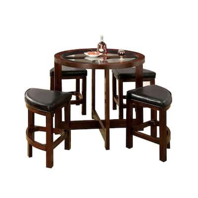 5 Piece Dark Walnut Counter Height Table Set