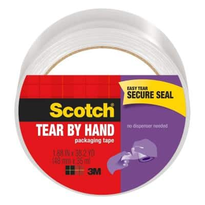 Scotch 1.88 in. x 38.2 yds. Tear By Hand Mailing Packaging Tape, Clear (1-Pack)