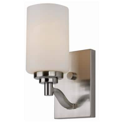 Mod Pod 4.5 in. 1-Light Brushed Nickel Wall Sconce with Frosted Glass Cylinder Shade