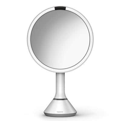 8 in. Lighted Sensor Mirror with Touch Control Brightness, White Stainless Steel