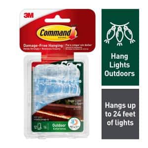 Outdoor Rope Light Clips with Foam Adhesive Strips (12 Hooks, 16 Strips)