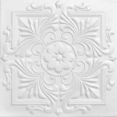 Victorian 1.6 ft. x 1.6 ft. Glue Up Foam Ceiling Tile in Plain White (21.6 sq. ft./case)