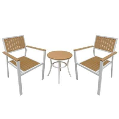 Island Retreat White 3-pc Metal Frame Resin Slats in Wood Patio Conversation Set