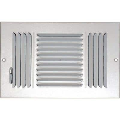 10 in. x 8 in. Ceiling/Sidewall Vent Register, White with 3-Way Deflection