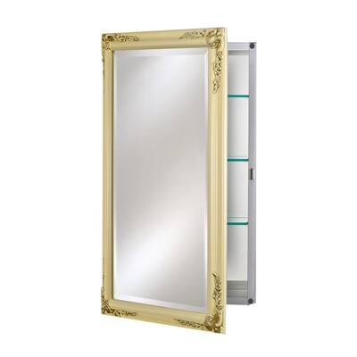 Single Door 16 in. x 22 in. Recessed Medicine Cabinet Basix Plus Antique Biscuit