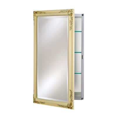 Single Door 24 in. x 30 in. Recessed Medicine Cabinet Basix Plus Antique Biscuit