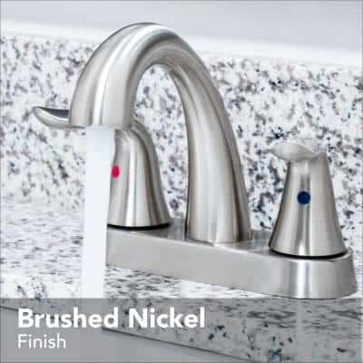 Impressions Collection 4 in. Centerset 2-Handle Bathroom Faucet with 50/50 Pop-Up in Brushed Nickel