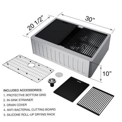 Oxford Stainless Steel 30 in. Single Bowl Slotted Farmhouse Apron-Front Workstation Kitchen Sink with Accessories