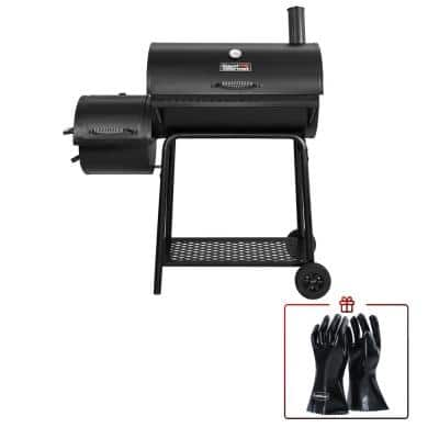 Charcoal Grill in Black with Offset Smoker with High Heat-Resistant BBQ Gloves