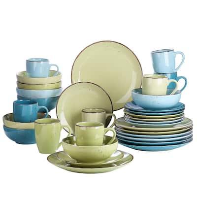 Navia Prato Multi-Colors 32-Pieces Ceramic Dinnerware Sets with Dinner Plate, Dessert Plate, Bowl, Mug (Service for 8)