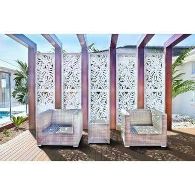 2 ft. x 4 ft. White Tropical Decorative Privacy and Fence Panel