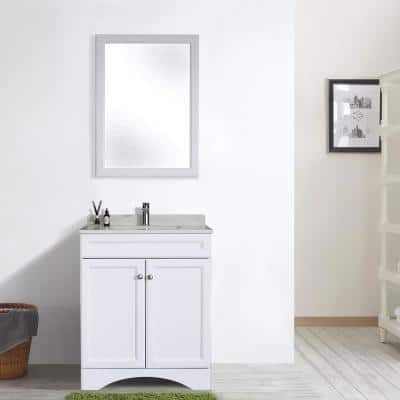 30 in. W x 22 in. D Bath Vanity Cabinet Only with Marble Countertop in White