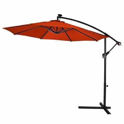 10 ft. Cantilever Hanging Solar LED Sun Shade Patio Umbrella in Orange with Cross Base