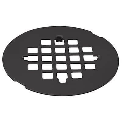 4-1/4 in. O.D. Casper Brass Snap-In Shower Strainer Grid in Matte Black